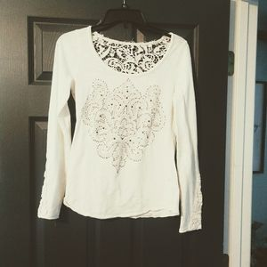 Maurices Premium Off White Shirt Lace Small